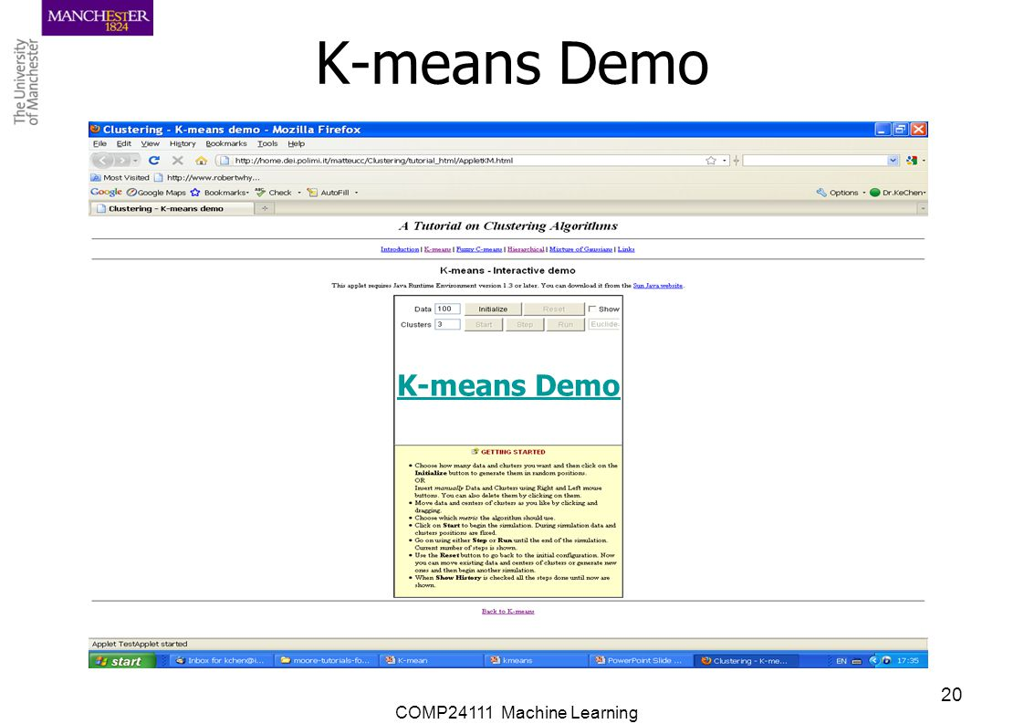 COMP24111 Machine Learning 20 K-means Demo
