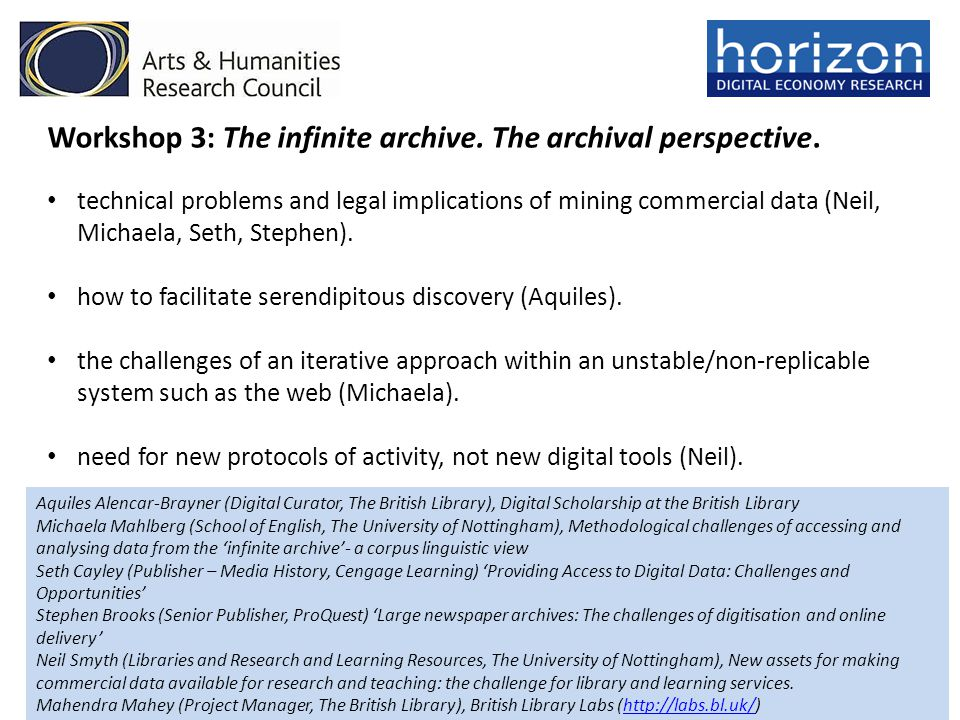 Workshop 3: The infinite archive.The archival perspective.