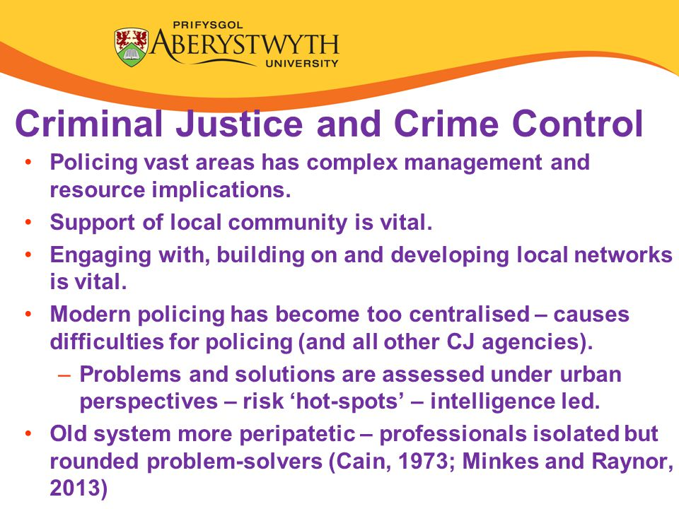 Criminal Justice and Crime Control Policing vast areas has complex management and resource implications.