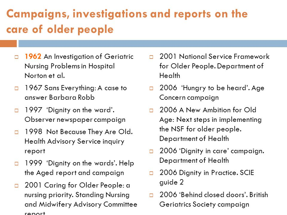Campaigns, investigations and reports on the care of older people  1962 An Investigation of Geriatric Nursing Problems in Hospital Norton et al.