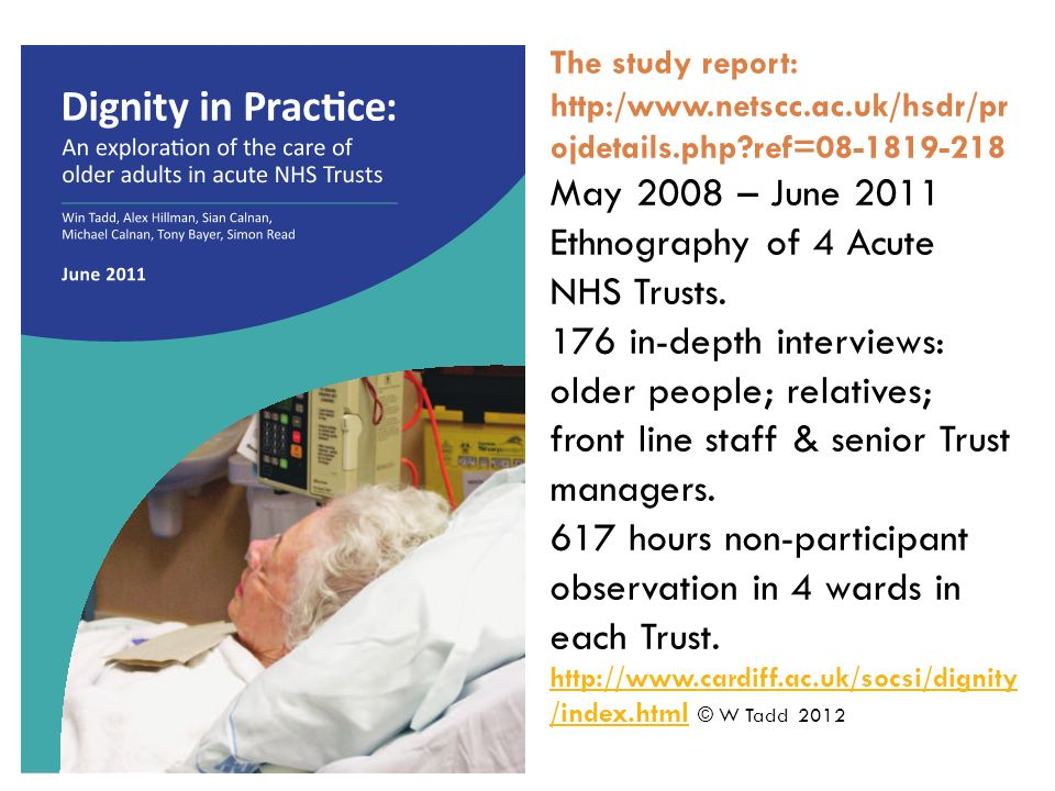 The study report: http:/www.netscc.ac.uk/hsdr/pr ojdetails.php?ref=08-1819-218 May 2008 – June 2011 Ethnography of 4 Acute NHS Trusts.