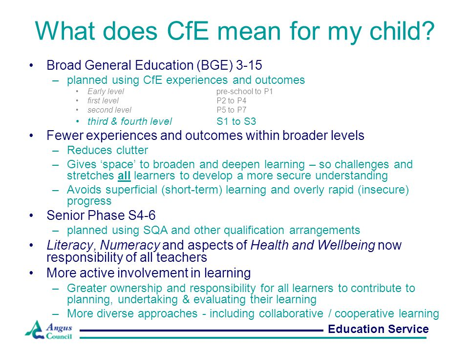 What does CfE mean for my child.