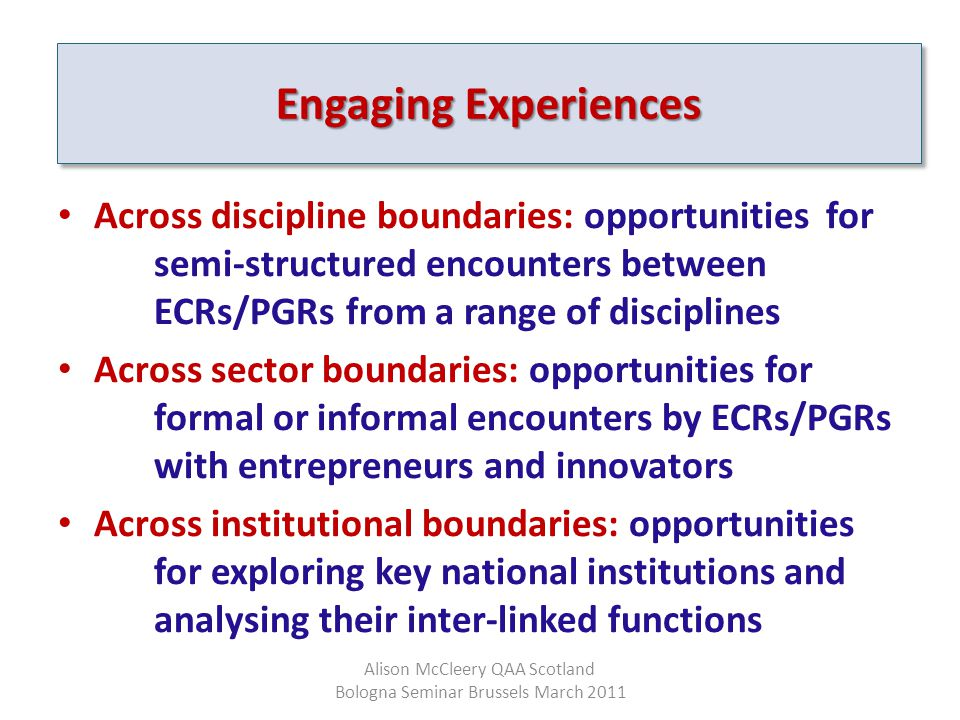 Engaging Experiences Across discipline boundaries: opportunities for semi-structured encounters between ECRs/PGRs from a range of disciplines Across s
