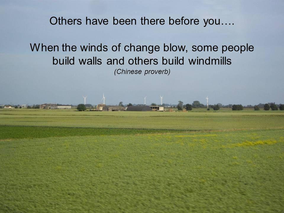 Others have been there before you…. When the winds of change blow, some people build walls and others build windmills (Chinese proverb)