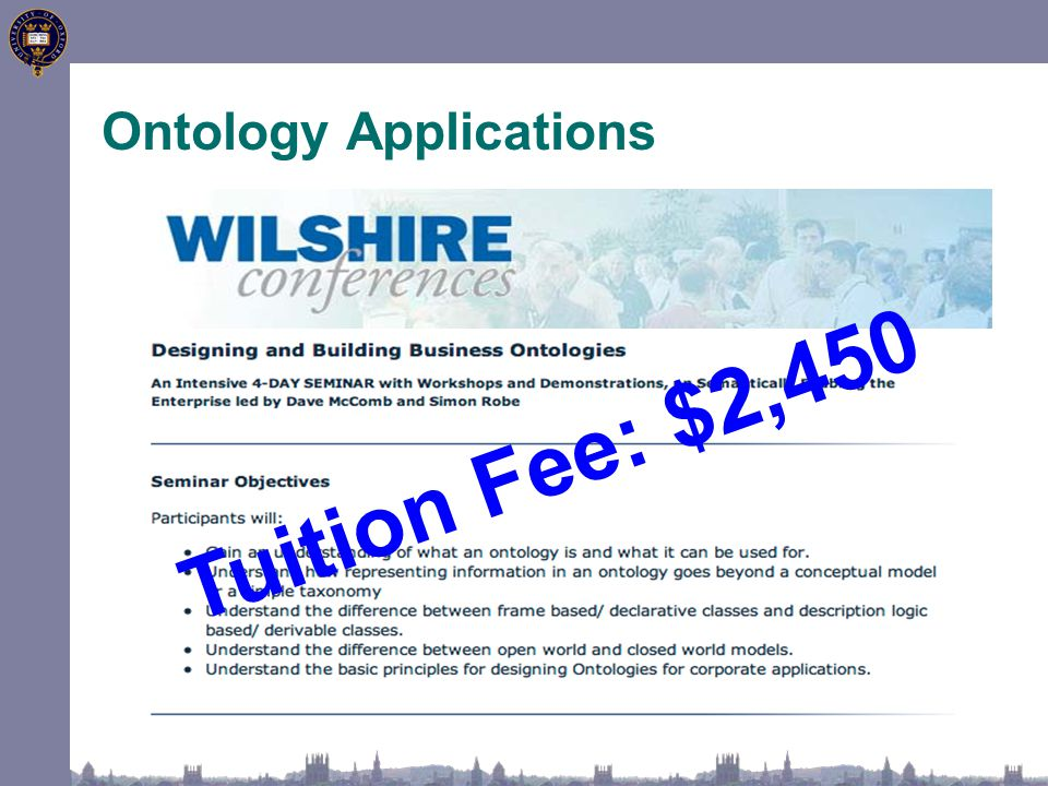 Ontology Applications Tuition Fee: $2,450