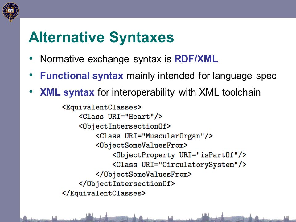 Alternative Syntaxes Normative exchange syntax is RDF/XML Functional syntax mainly intended for language spec XML syntax for interoperability with XML