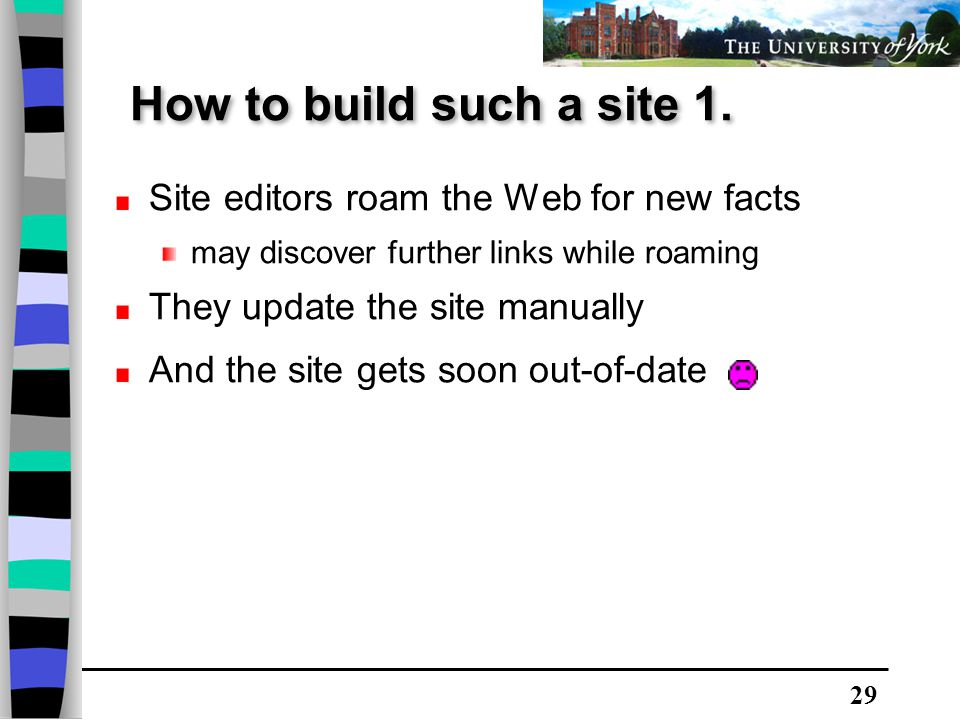 29 Site editors roam the Web for new facts may discover further links while roaming They update the site manually And the site gets soon out-of-date How to build such a site 1.