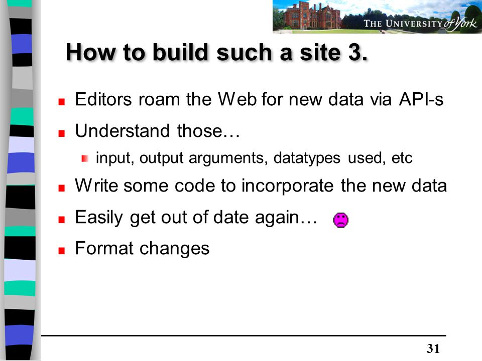 31 Editors roam the Web for new data via API-s Understand those… input, output arguments, datatypes used, etc Write some code to incorporate the new data Easily get out of date again… Format changes How to build such a site 3.