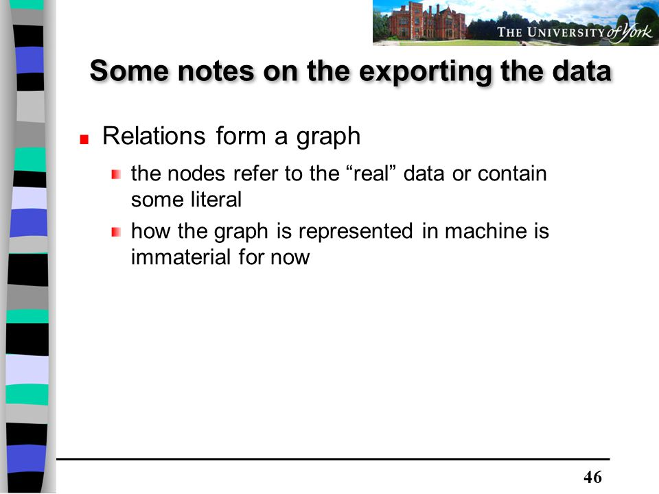 46 Relations form a graph the nodes refer to the real data or contain some literal how the graph is represented in machine is immaterial for now Some notes on the exporting the data