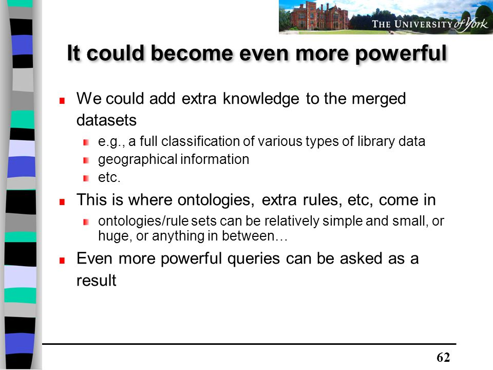 62 We could add extra knowledge to the merged datasets e.g., a full classification of various types of library data geographical information etc.