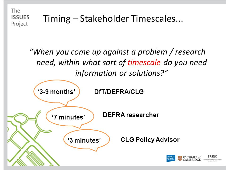 Timing – Stakeholder Timescales...