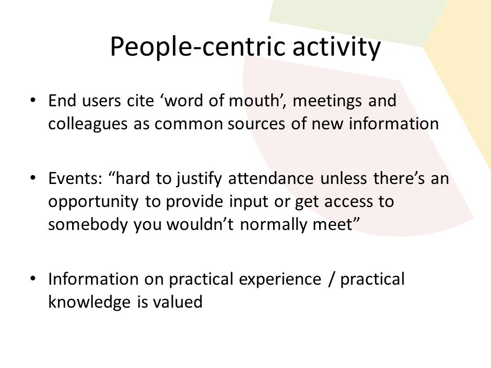 "People-centric activity End users cite 'word of mouth', meetings and colleagues as common sources of new information Events: ""hard to justify attendan"