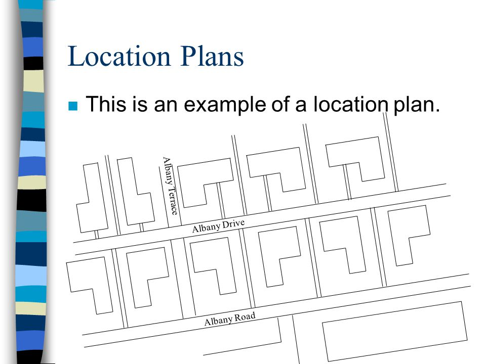 Location Plans n This is an example of a location plan. Albany Terrace Albany Drive Albany Road