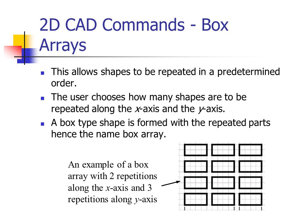 2D CAD Commands - Box Arrays This allows shapes to be repeated in a predetermined order. The user chooses how many shapes are to be repeated along the