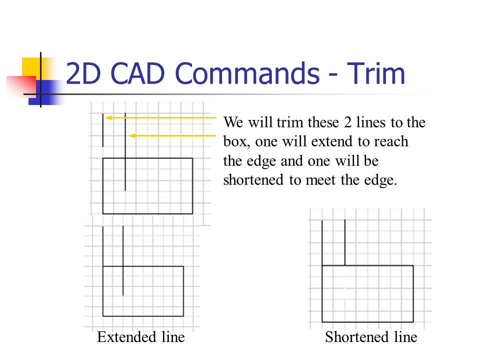 2D CAD Commands - Trim We will trim these 2 lines to the box, one will extend to reach the edge and one will be shortened to meet the edge. Shortened