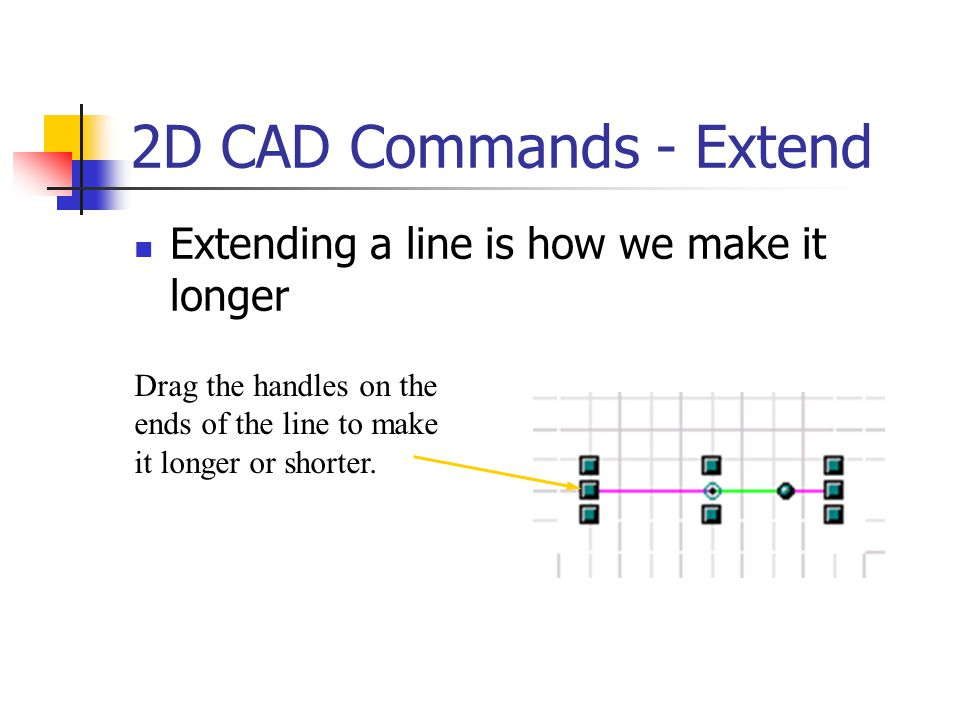 2D CAD Commands - Extend Extending a line is how we make it longer Drag the handles on the ends of the line to make it longer or shorter.