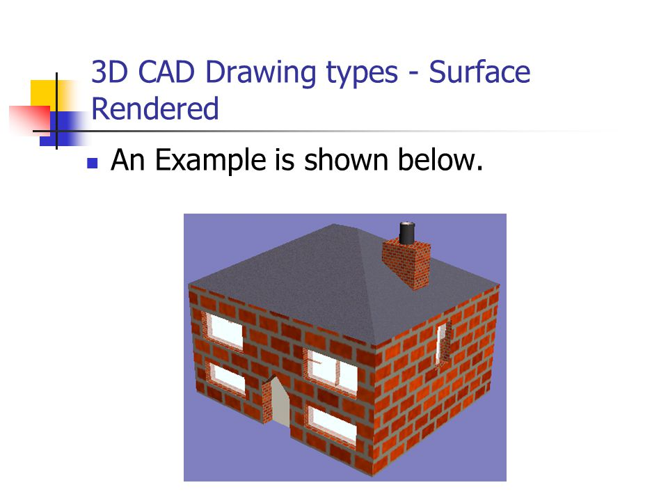 3D CAD Drawing types - Surface Rendered An Example is shown below.
