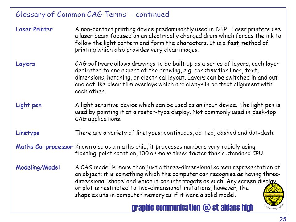graphic communication @ st aidans high 25 Glossary of Common CAG Terms - continued Laser Printer A non-contact printing device predominantly used in D