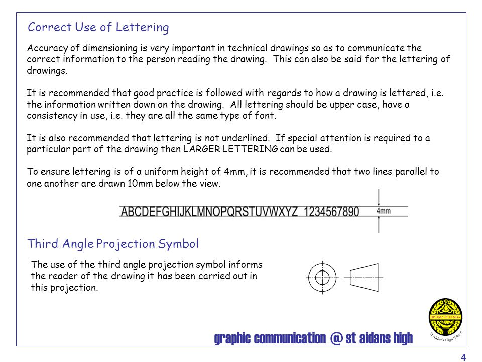 graphic communication @ st aidans high 5 Dimensioning Short extension (Leader) Small gap between Leader and line of drawing Dimension Small Arrow Note the position of the dimensions on each of the lines