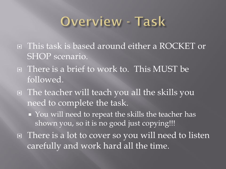  This task is based around either a ROCKET or SHOP scenario.  There is a brief to work to. This MUST be followed.  The teacher will teach you all t