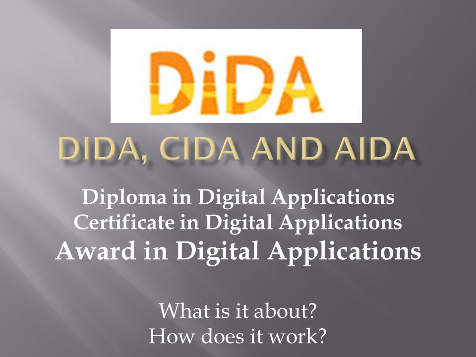 Diploma in Digital Applications Certificate in Digital Applications Award in Digital Applications What is it about.