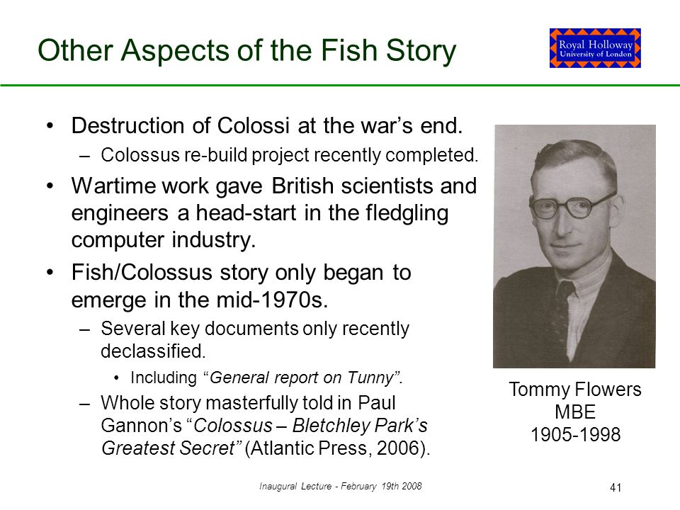 Inaugural Lecture - February 19th 2008 41 Other Aspects of the Fish Story Destruction of Colossi at the war's end.