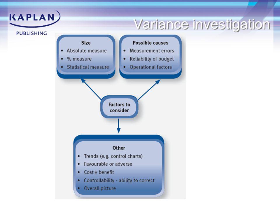 Variance investigation