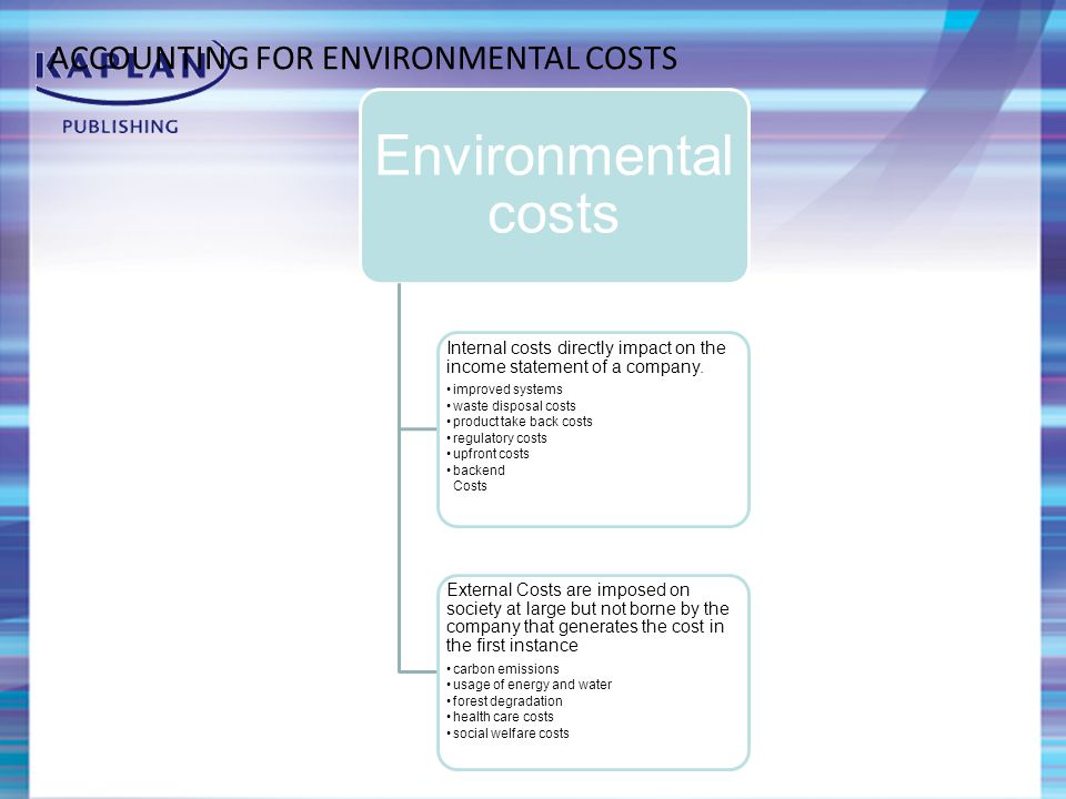 ACCOUNTING FOR ENVIRONMENTAL COSTS Environmental costs Internal costs directly impact on the income statement of a company.