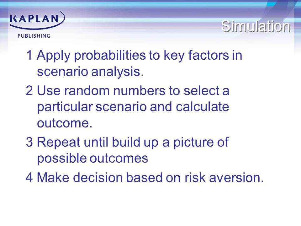 Simulation 1 Apply probabilities to key factors in scenario analysis.