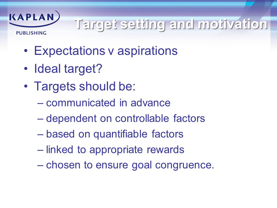 Target setting and motivation Expectations v aspirations Ideal target.