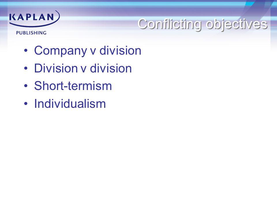 Conflicting objectives Company v division Division v division Short-termism Individualism