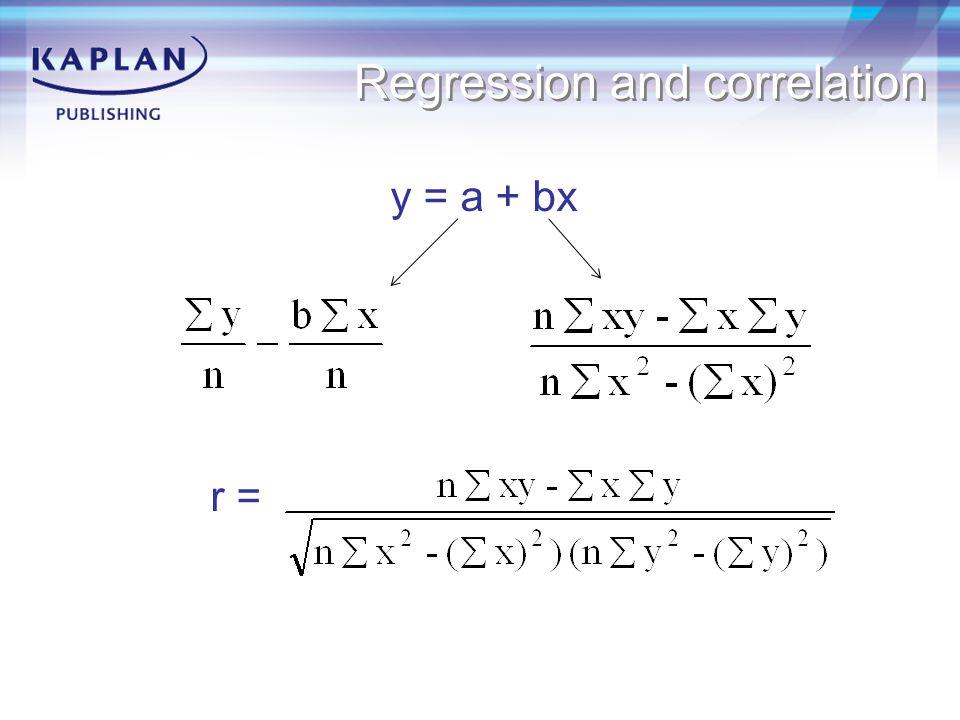 Regression and correlation y = a + bx r =