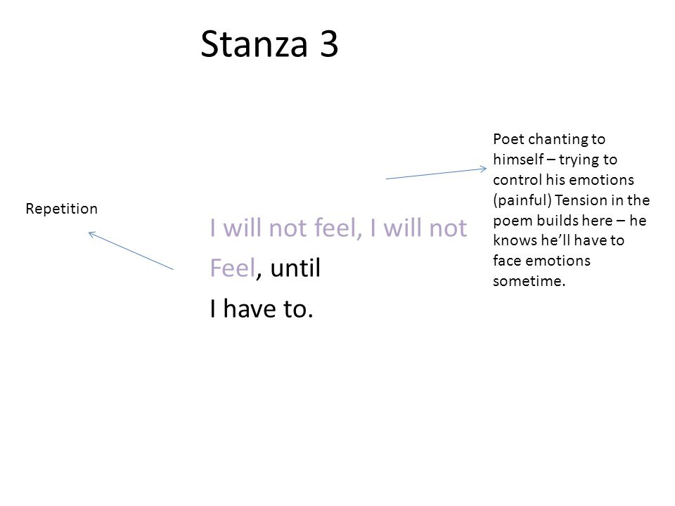 Stanza 3 I will not feel, I will not Feel, until I have to. Repetition Poet chanting to himself – trying to control his emotions (painful) Tension in