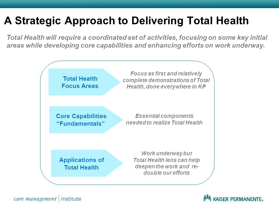 Total Health will require a coordinated set of activities, focusing on some key initial areas while developing core capabilities and enhancing efforts on work underway.
