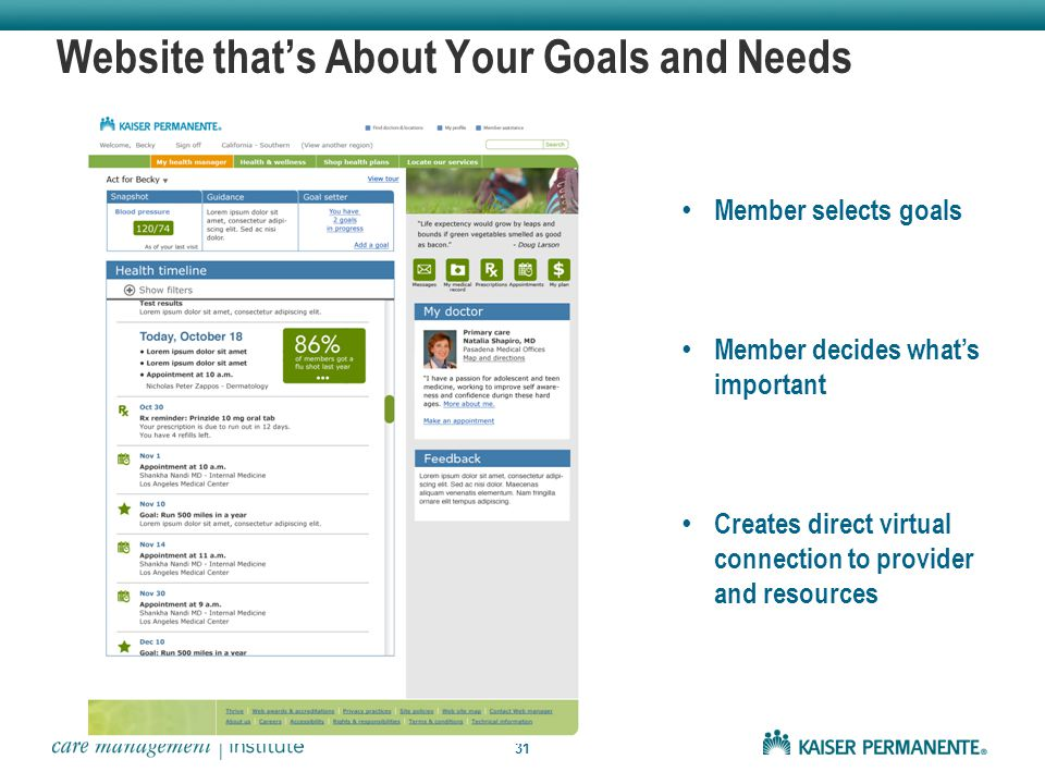 31 Website that's About Your Goals and Needs Member selects goals Member decides what's important Creates direct virtual connection to provider and resources