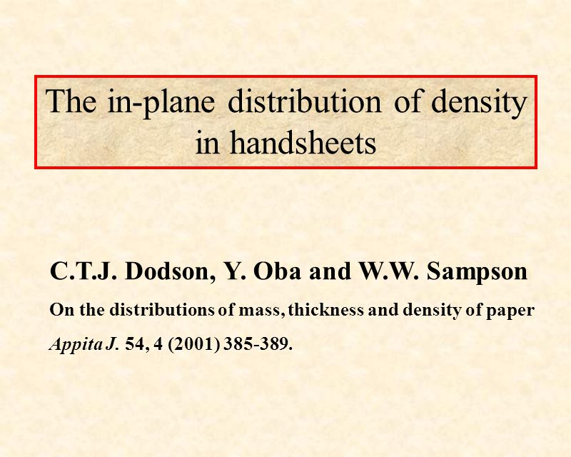 The in-plane distribution of density in handsheets C.T.J.