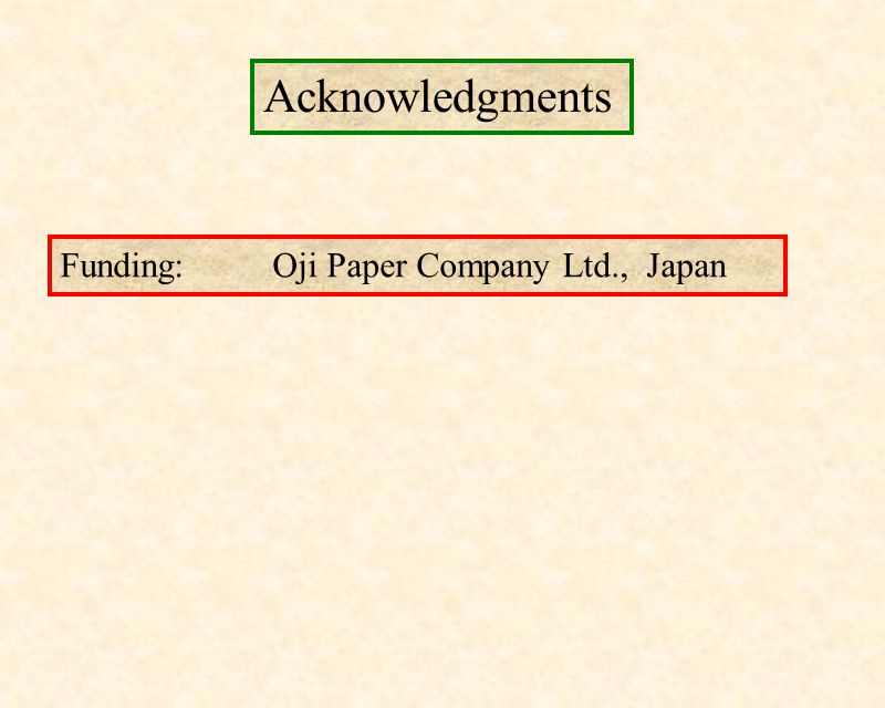 Acknowledgments Funding: Oji Paper Company Ltd., Japan