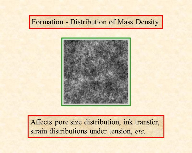 Affects pore size distribution, ink transfer, strain distributions under tension, etc.