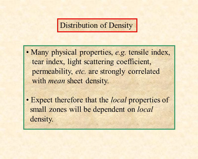 Distribution of Density Many physical properties, e.g. tensile index, tear index, light scattering coefficient, permeability, etc. are strongly correl