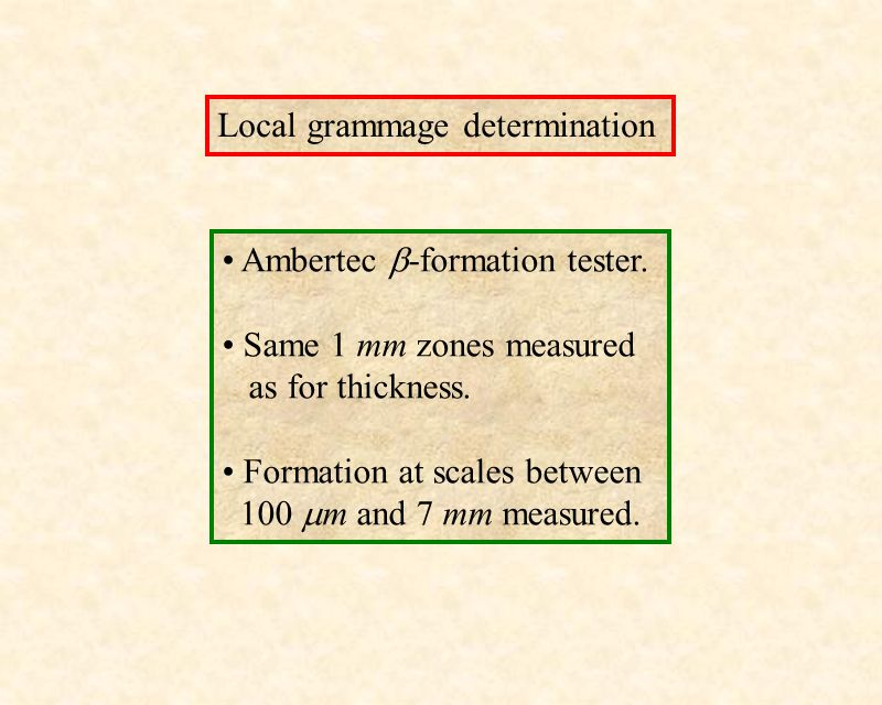 Local grammage determination Ambertec  -formation tester. Same 1 mm zones measured as for thickness. Formation at scales between 100  m and 7 mm mea