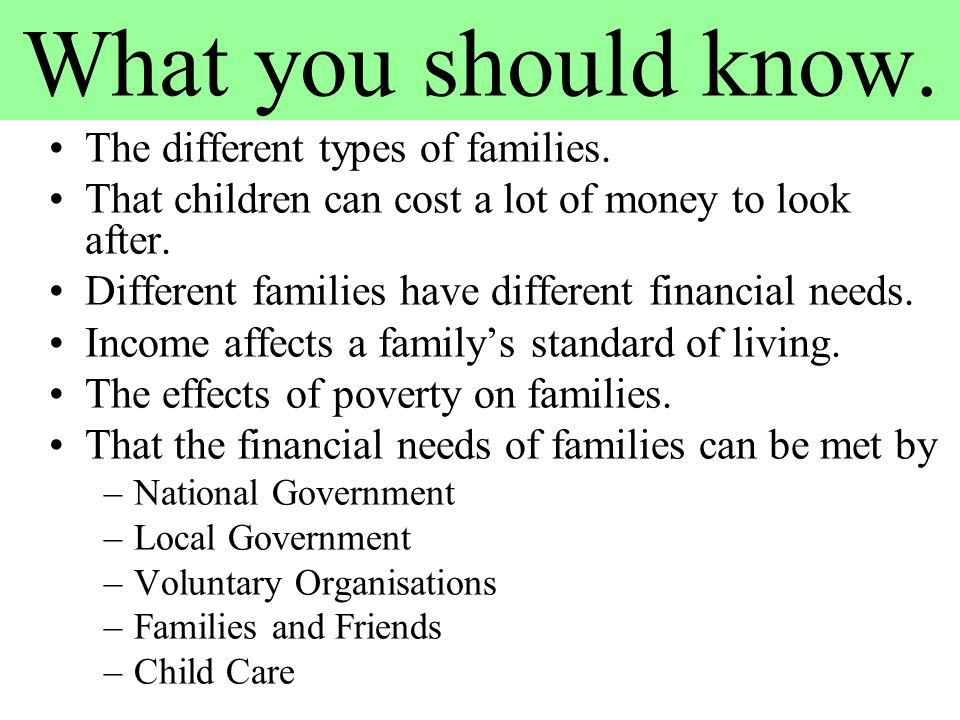 What you should know. The different types of families. That children can cost a lot of money to look after. Different families have different financia