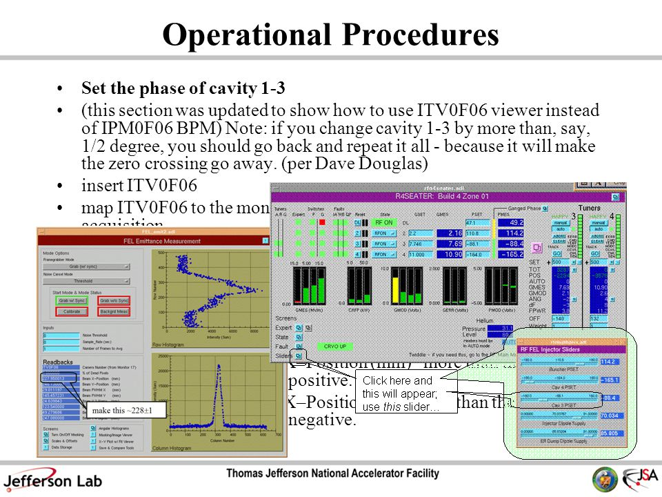 Operational Procedures Set the phase of cavity 1-3 (this section was updated to show how to use ITV0F06 viewer instead of IPM0F06 BPM) Note: if you change cavity 1-3 by more than, say, 1/2 degree, you should go back and repeat it all - because it will make the zero crossing go away.