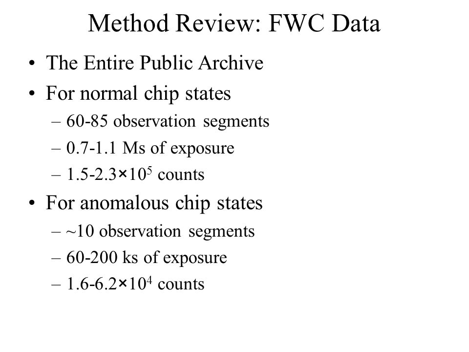 Method Review: FWC Data The Entire Public Archive For normal chip states –60-85 observation segments –0.7-1.1 Ms of exposure –1.5-2.3×10 5 counts For