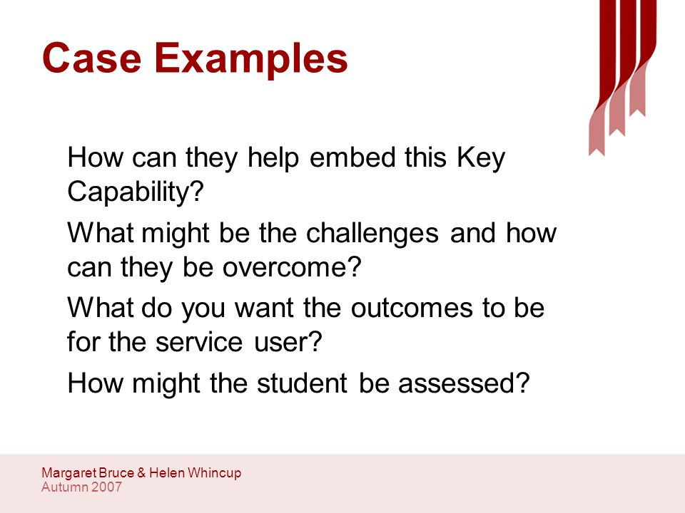 Autumn 2007 Margaret Bruce & Helen Whincup Case Examples How can they help embed this Key Capability.