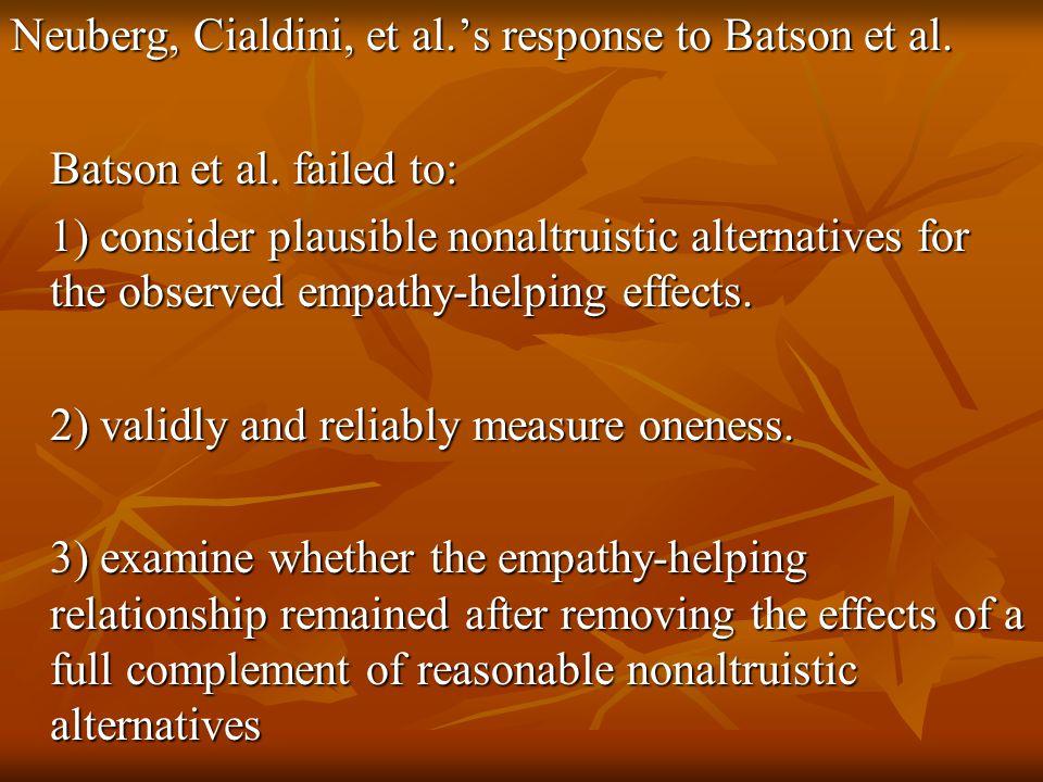 Neuberg, Cialdini, et al.'s response to Batson et al.