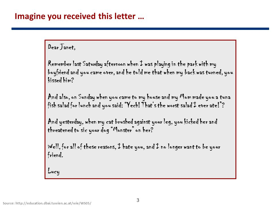 3 Imagine you received this letter … Dear Janet, Remember last Saturday afternoon when I was playing in the park with my boyfriend and you came over, and he told me that when my back was turned, you kissed him.