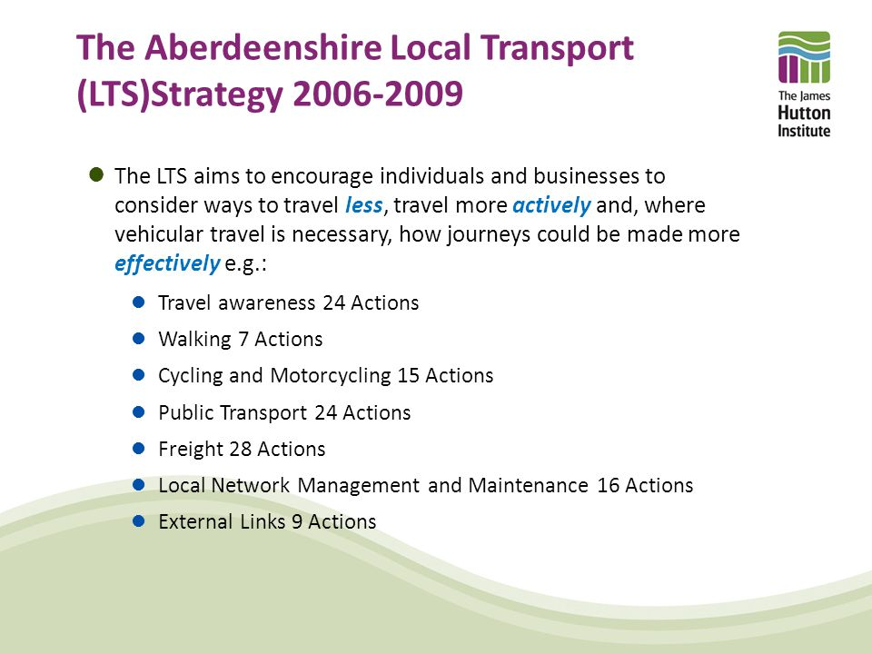 LTS and the Aberdeen Western Peripheral Route Measures that preserve, or lock-in the congestion, pollution and journey time benefits of the new road are needed .