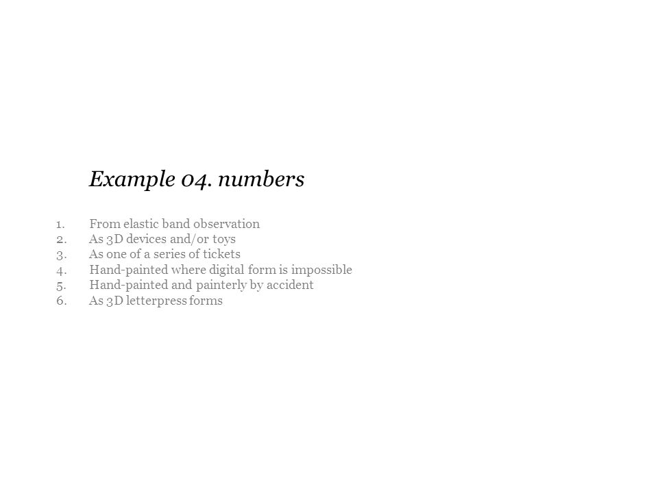 Example 04. numbers 1. From elastic band observation 2.