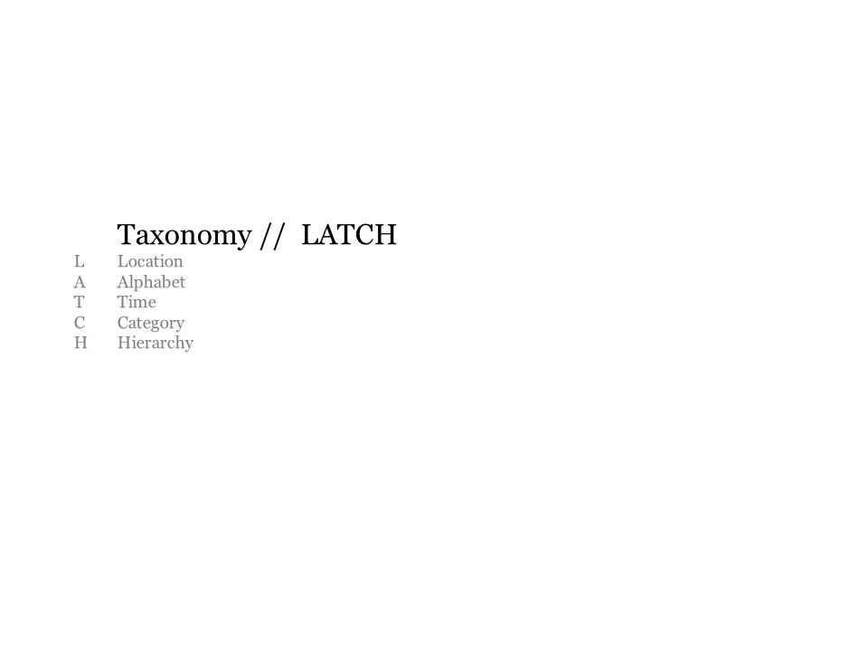Taxonomy // LATCH LLocation AAlphabet TTime CCategory HHierarchy