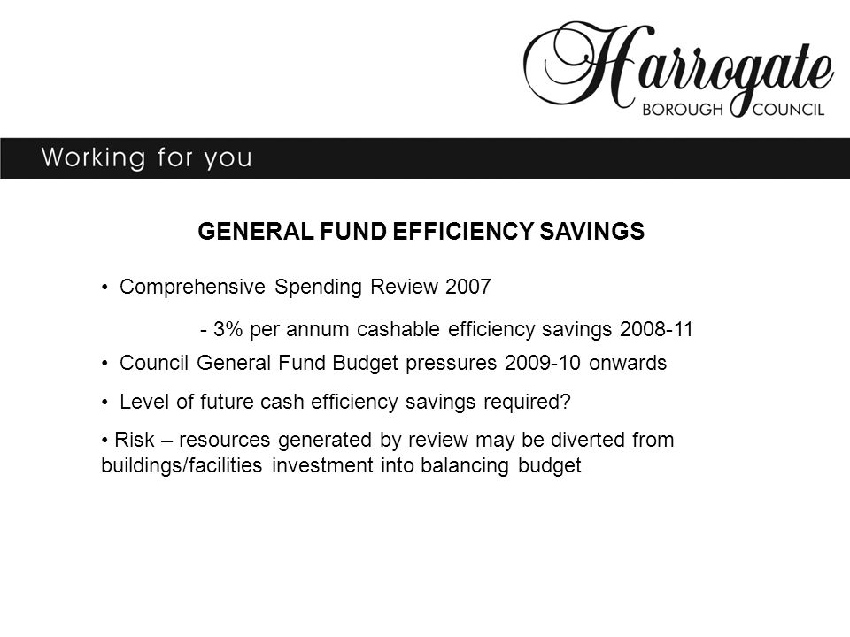 GENERAL FUND EFFICIENCY SAVINGS Comprehensive Spending Review 2007 - 3% per annum cashable efficiency savings 2008-11 Council General Fund Budget pressures 2009-10 onwards Level of future cash efficiency savings required.